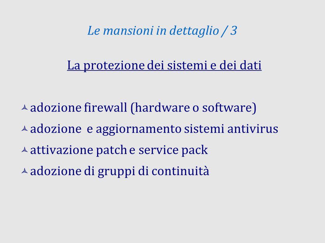 Le mansioni in dettaglio / 3 La protezione dei sistemi e dei dati adozione firewall (hardware o software) adozione e aggiornamento sistemi antivirus attivazione patch e service pack adozione di gruppi di continuità