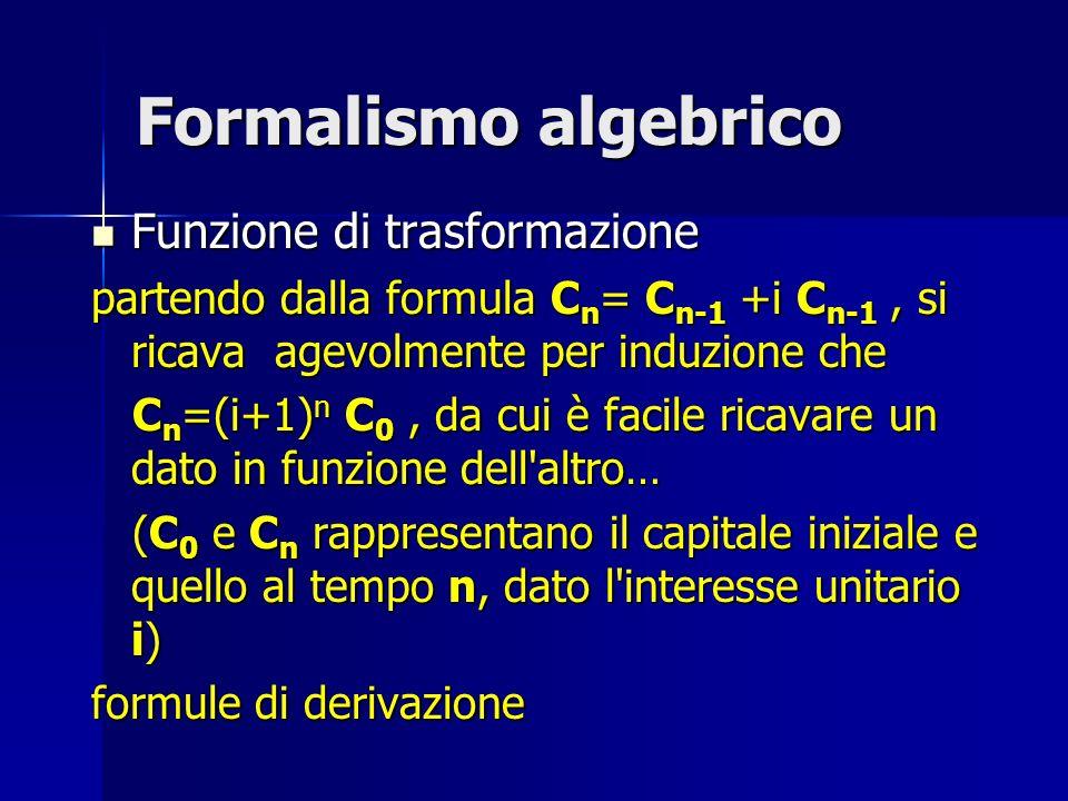 Formalismo algebrico Funzione di trasformazione Funzione di trasformazione partendo dalla formula C n = C n-1 +i C n-1, si ricava agevolmente per indu