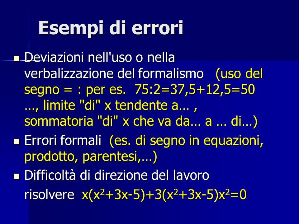 Esempi di errori Deviazioni nell'uso o nella verbalizzazione del formalismo (uso del segno = : per es. 75:2=37,5+12,5=50 …, limite