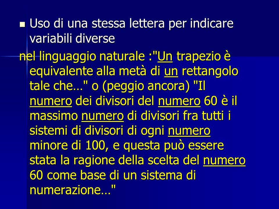 Uso di una stessa lettera per indicare variabili diverse Uso di una stessa lettera per indicare variabili diverse nel linguaggio naturale :