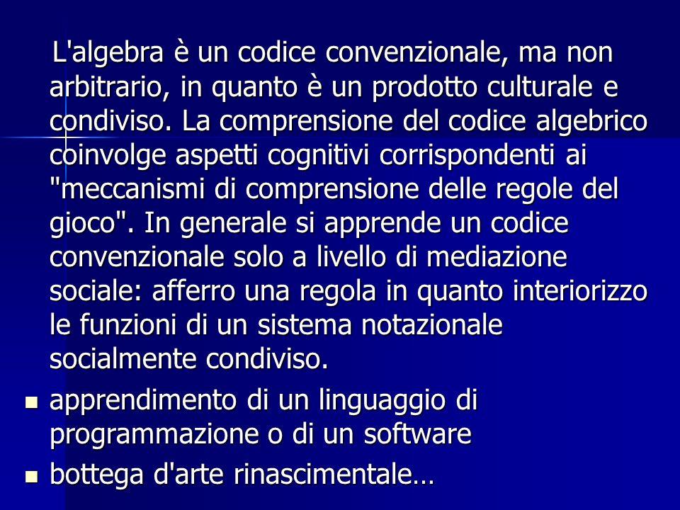 L'algebra è un codice convenzionale, ma non arbitrario, in quanto è un prodotto culturale e condiviso. La comprensione del codice algebrico coinvolge