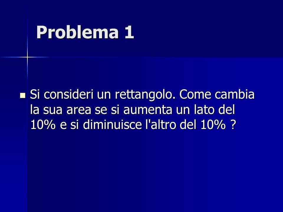 Problema 1 Si consideri un rettangolo. Come cambia la sua area se si aumenta un lato del 10% e si diminuisce l'altro del 10% ? Si consideri un rettang