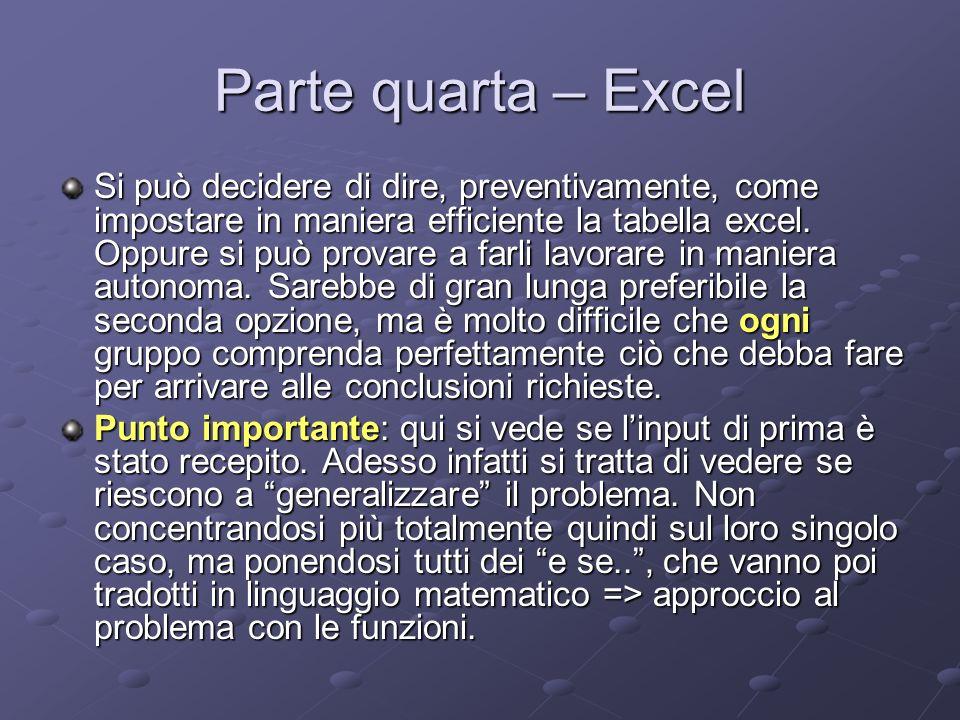 Parte quarta – Excel Si può decidere di dire, preventivamente, come impostare in maniera efficiente la tabella excel.