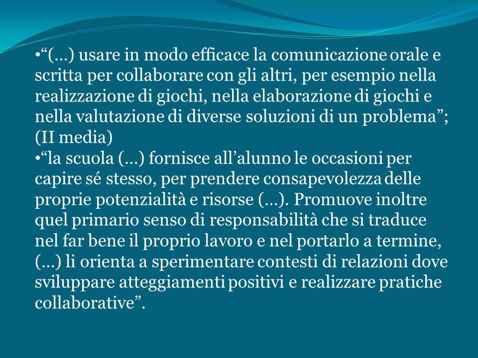 (…) usare in modo efficace la comunicazione orale e scritta per collaborare con gli altri, per esempio nella realizzazione di giochi, nella elaborazio