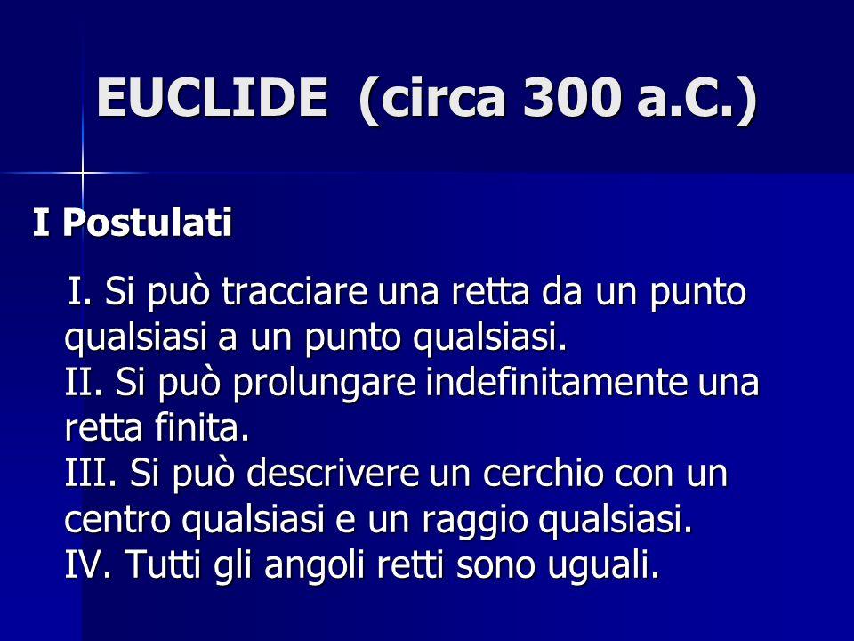 EUCLIDE (circa 300 a.C.) I Postulati I. Si può tracciare una retta da un punto qualsiasi a un punto qualsiasi. II. Si può prolungare indefinitamente u