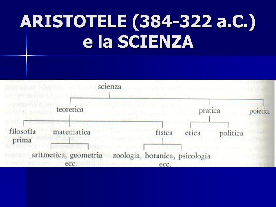 ARISTOTELE (384-322 a.C.) e la SCIENZA