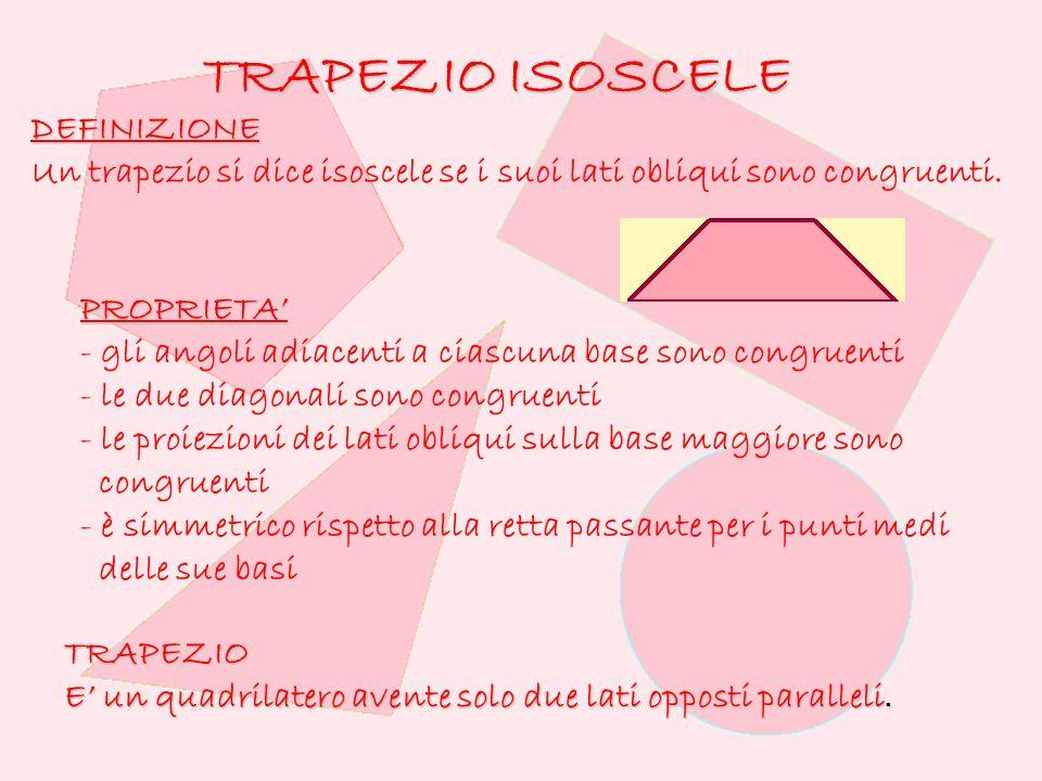 TRAPEZIO ISOSCELE DEFINIZIONE Un trapezio si dice isoscele se i suoi lati obliqui sono congruenti.