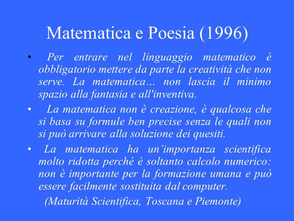 Matematica e Poesia (1996) Per entrare nel linguaggio matematico è obbligatorio mettere da parte la creatività che non serve. La matematica… non lasci