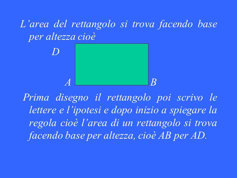 Larea del rettangolo si trova facendo base per altezza cioè D C A B Prima disegno il rettangolo poi scrivo le lettere e lipotesi e dopo inizio a spieg