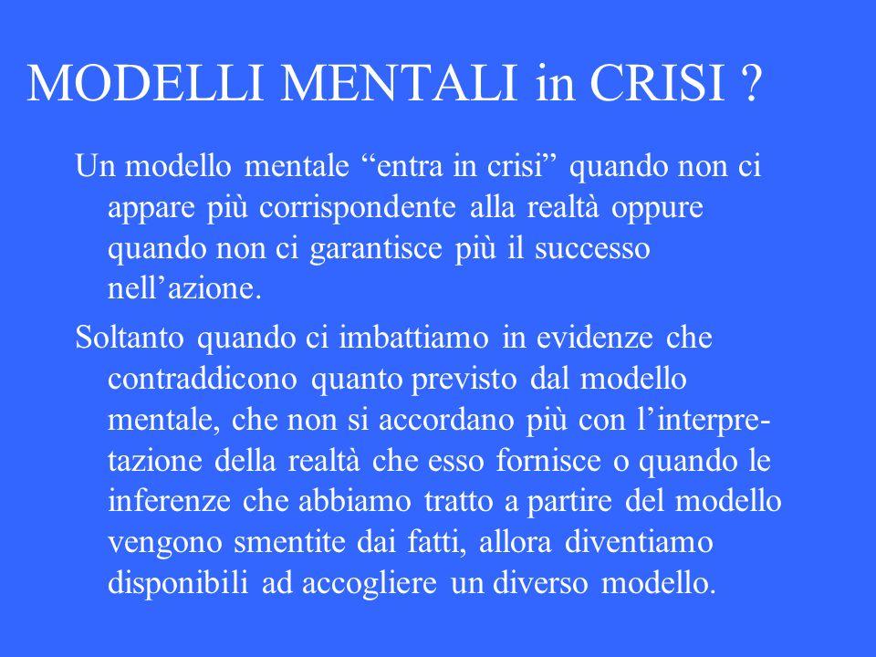 MODELLI MENTALI in CRISI ? Un modello mentale entra in crisi quando non ci appare più corrispondente alla realtà oppure quando non ci garantisce più i