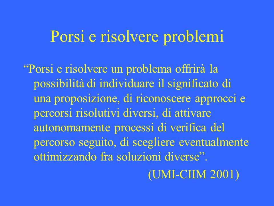 Porsi e risolvere problemi Porsi e risolvere un problema offrirà la possibilità di individuare il significato di una proposizione, di riconoscere appr