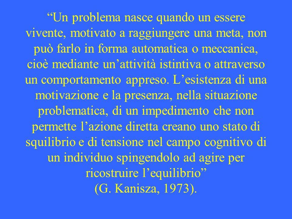 Un problema nasce quando un essere vivente, motivato a raggiungere una meta, non può farlo in forma automatica o meccanica, cioè mediante unattività i