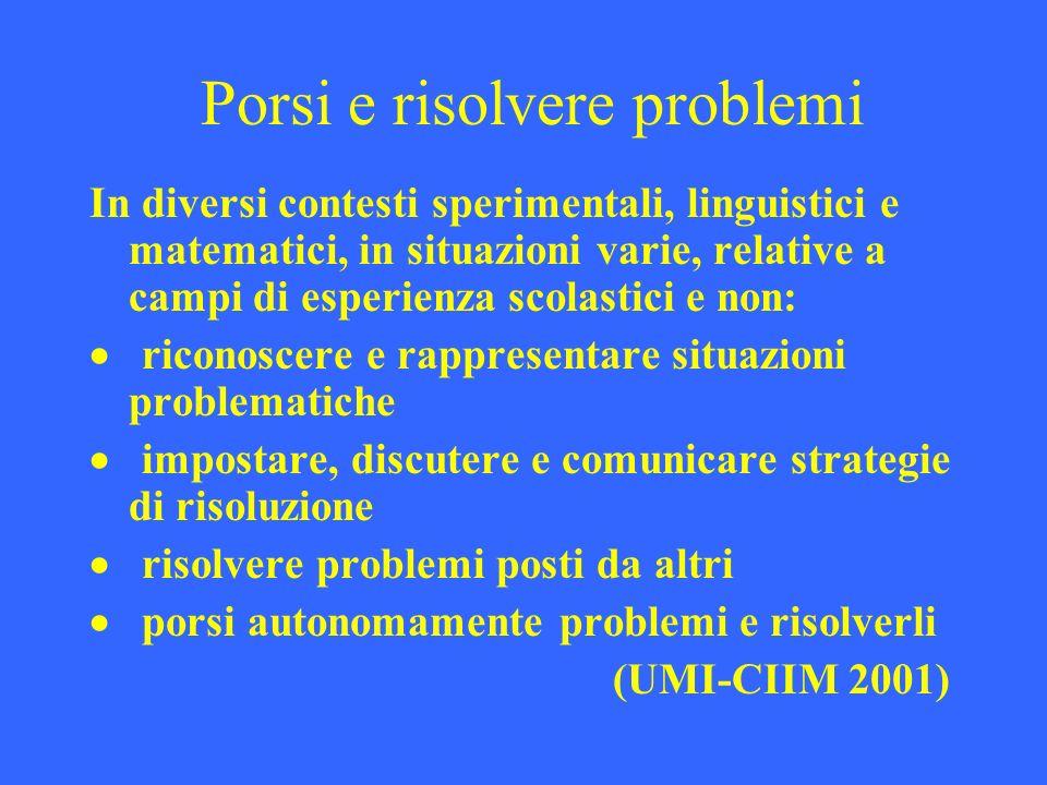 Porsi e risolvere problemi In diversi contesti sperimentali, linguistici e matematici, in situazioni varie, relative a campi di esperienza scolastici