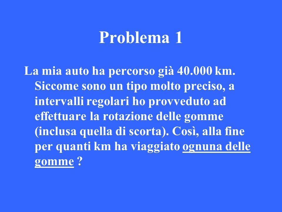 Problema 1 La mia auto ha percorso già 40.000 km. Siccome sono un tipo molto preciso, a intervalli regolari ho provveduto ad effettuare la rotazione d
