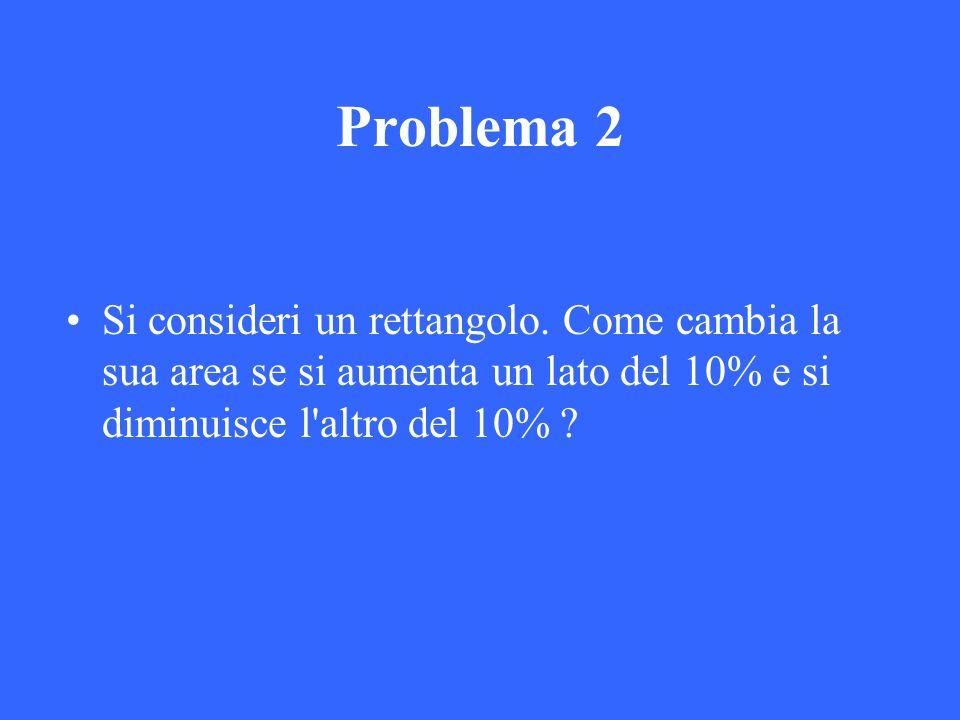 Problema 2 Si consideri un rettangolo. Come cambia la sua area se si aumenta un lato del 10% e si diminuisce l'altro del 10% ?