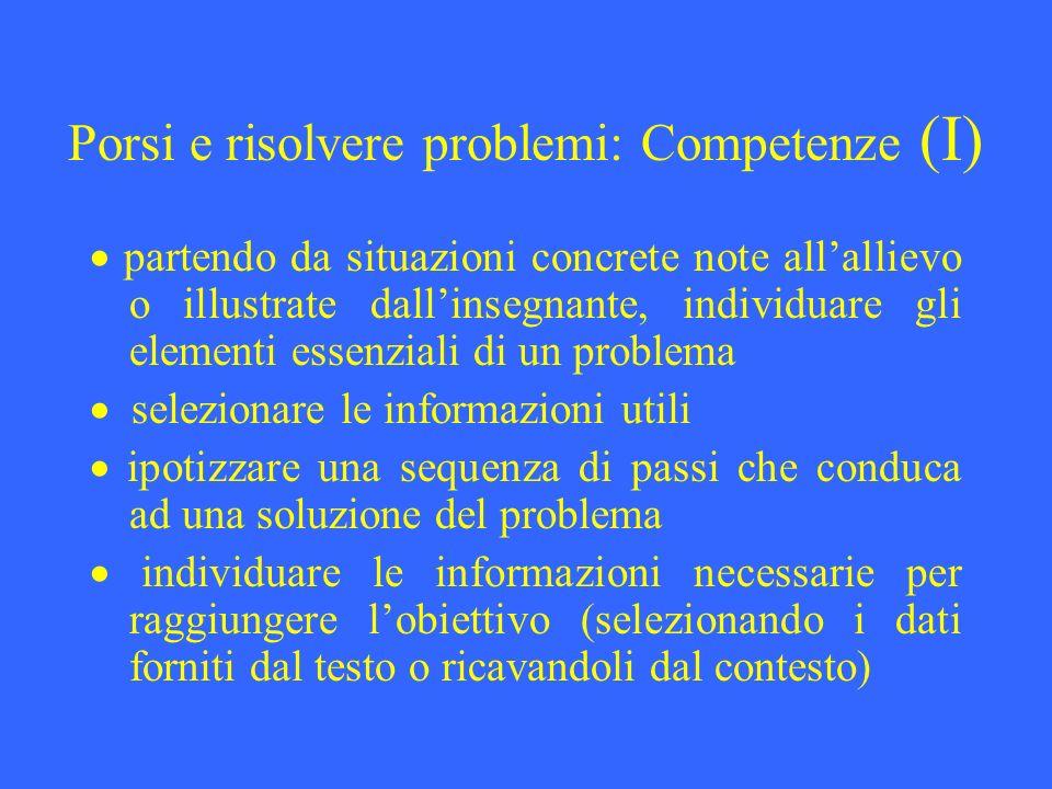 Porsi e risolvere problemi: Competenze (I) partendo da situazioni concrete note allallievo o illustrate dallinsegnante, individuare gli elementi essen