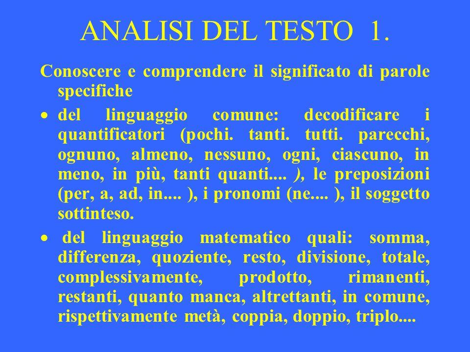 ANALISI DEL TESTO 1. Conoscere e comprendere il significato di parole specifiche del linguaggio comune: decodificare i quantificatori (pochi. tanti. t