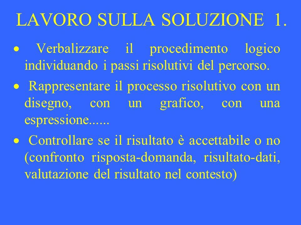 LAVORO SULLA SOLUZIONE 1. Verbalizzare il procedimento logico individuando i passi risolutivi del percorso. Rappresentare il processo risolutivo con u