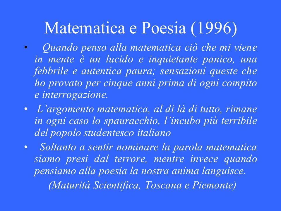Matematica e Poesia (1996) Quando penso alla matematica ciò che mi viene in mente è un lucido e inquietante panico, una febbrile e autentica paura; se