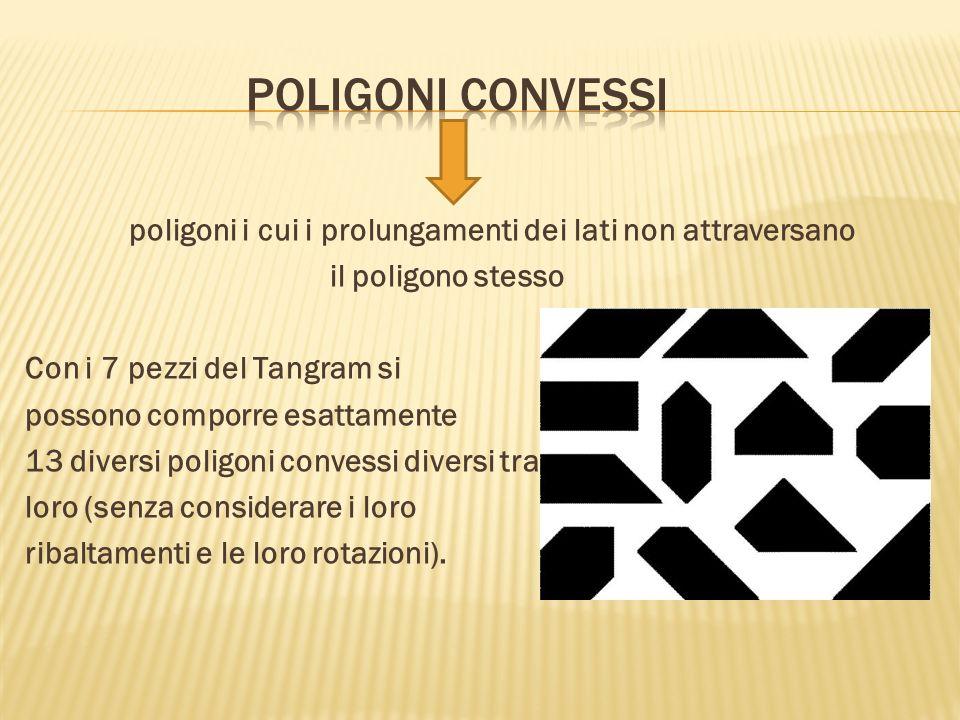 poligoni i cui i prolungamenti dei lati non attraversano il poligono stesso Con i 7 pezzi del Tangram si possono comporre esattamente 13 diversi polig