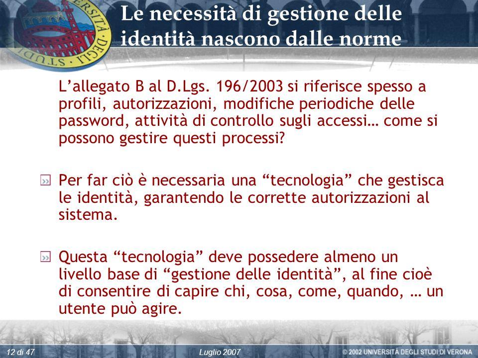 Luglio 200712 di 47 Le necessità di gestione delle identità nascono dalle norme Lallegato B al D.Lgs.
