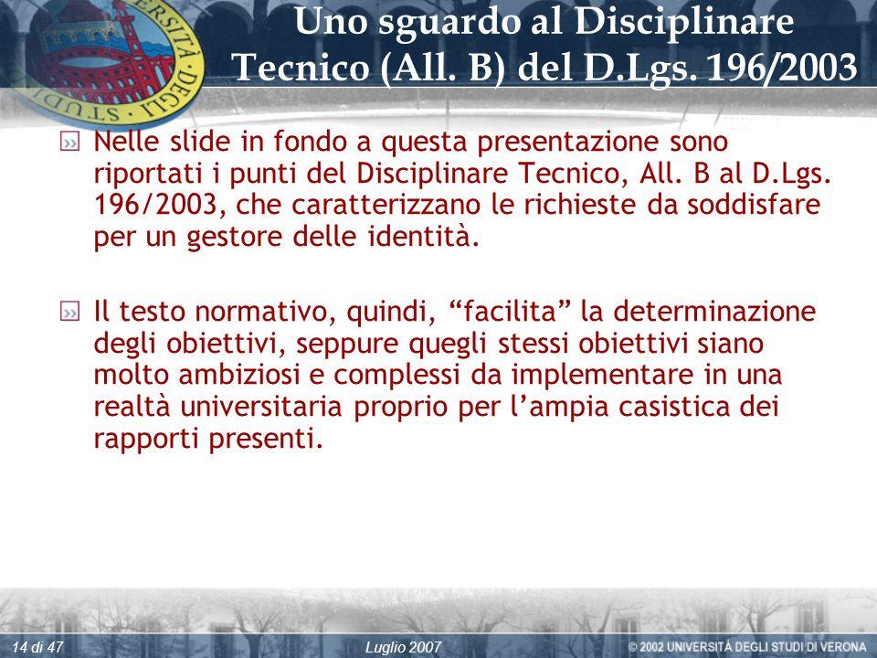 Luglio 200714 di 47 Uno sguardo al Disciplinare Tecnico (All.