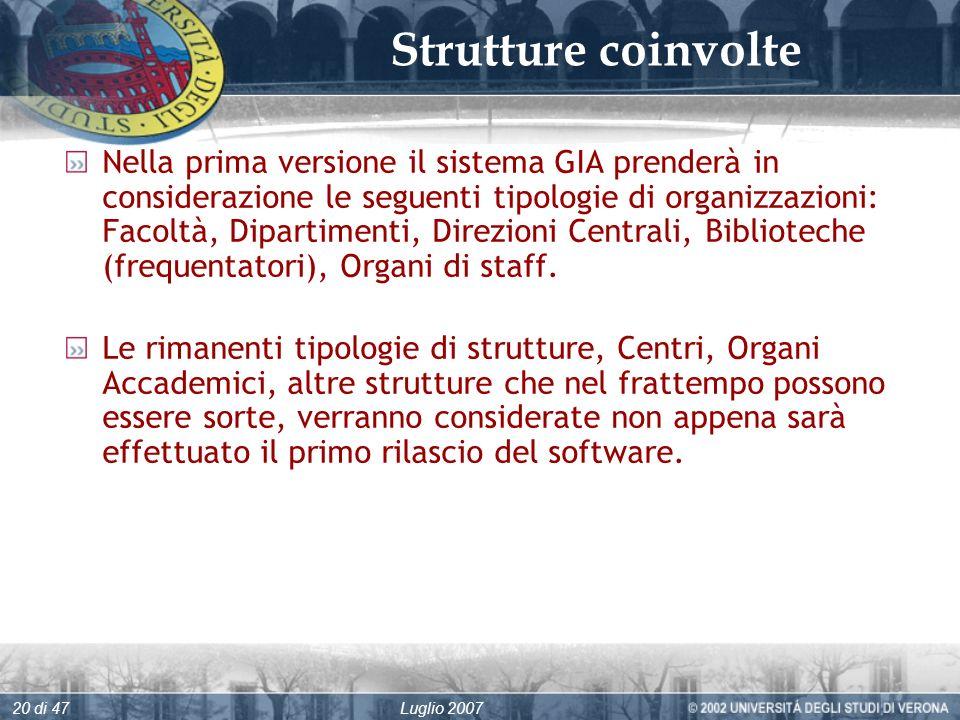 Luglio 200720 di 47 Strutture coinvolte Nella prima versione il sistema GIA prenderà in considerazione le seguenti tipologie di organizzazioni: Facoltà, Dipartimenti, Direzioni Centrali, Biblioteche (frequentatori), Organi di staff.