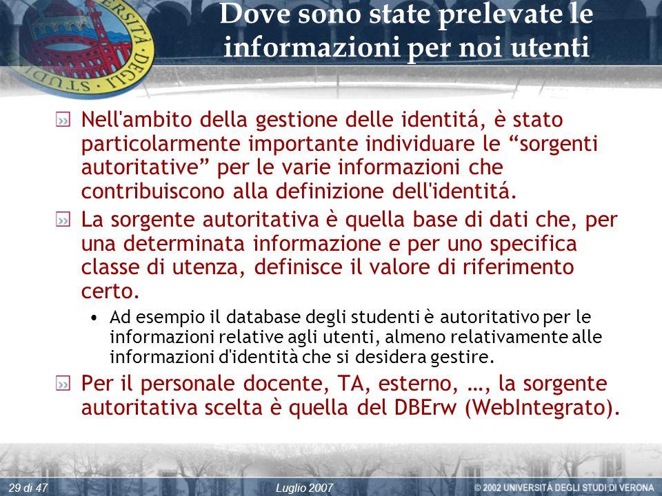 Luglio 200729 di 47 Dove sono state prelevate le informazioni per noi utenti Nell ambito della gestione delle identitá, è stato particolarmente importante individuare le sorgenti autoritative per le varie informazioni che contribuiscono alla definizione dell identitá.