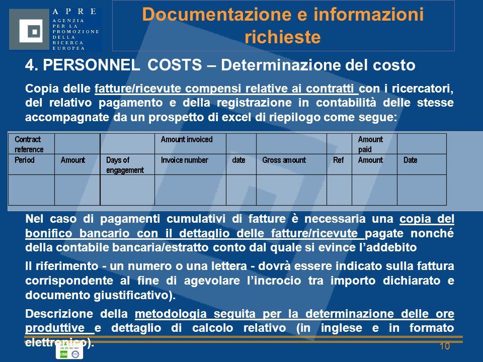 10 Documentazione e informazioni richieste 4.