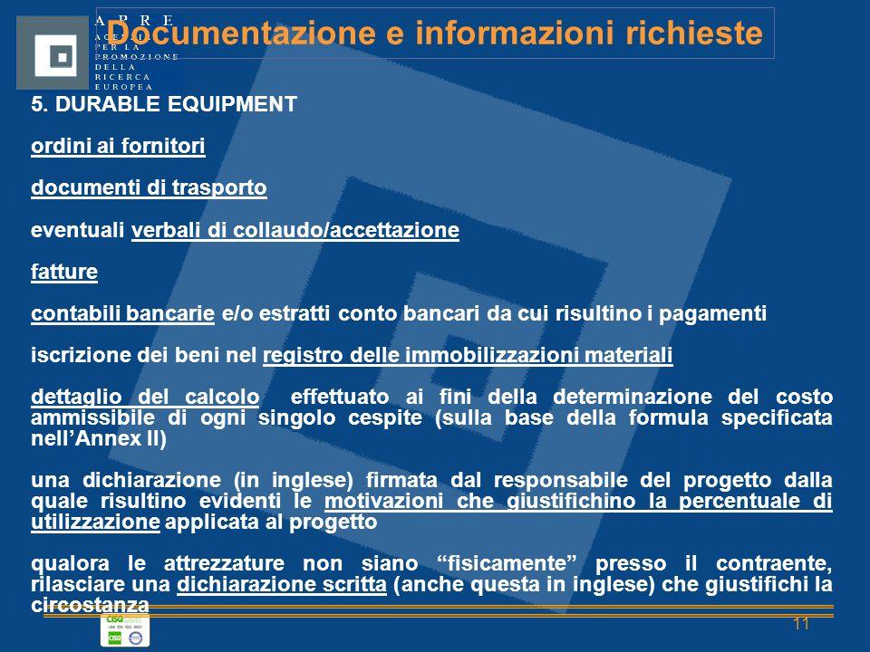11 Documentazione e informazioni richieste 5.