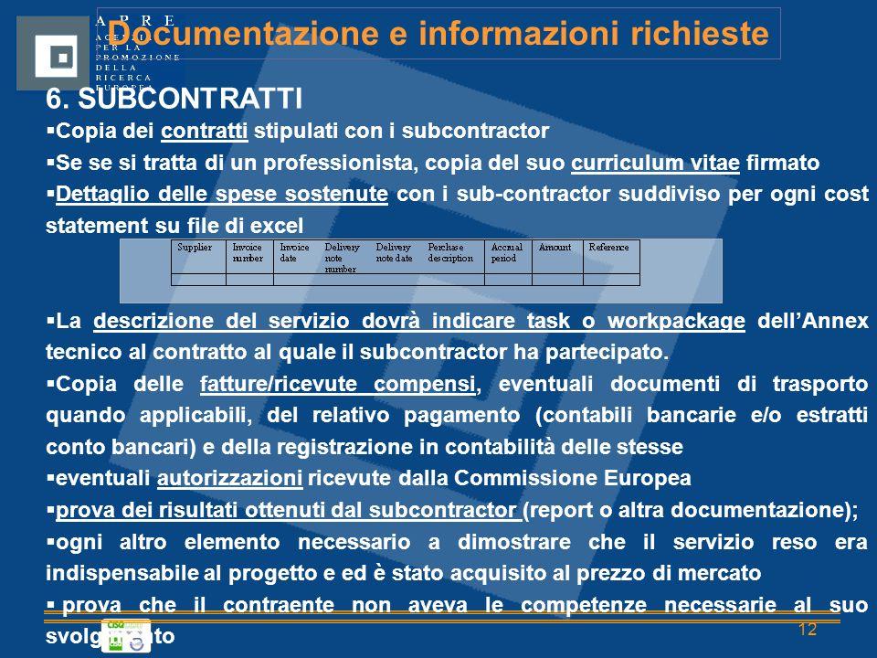 12 Documentazione e informazioni richieste 6.