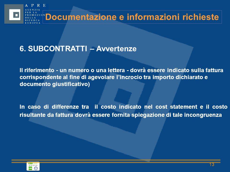 13 Documentazione e informazioni richieste 6.