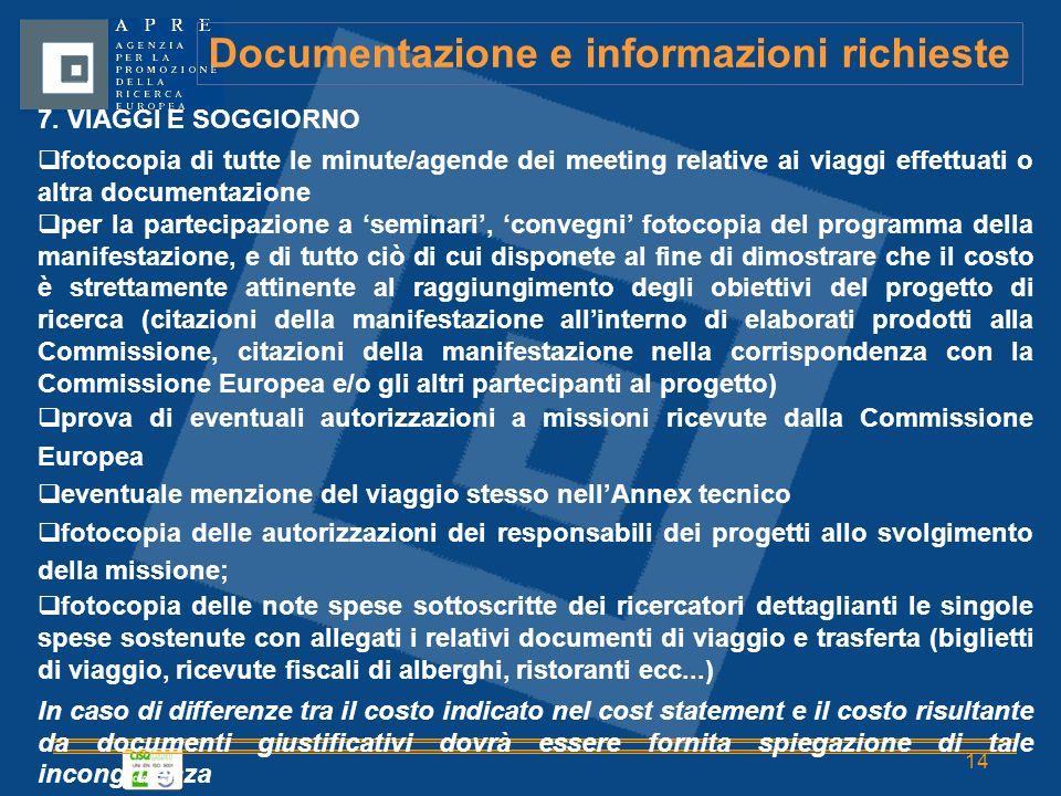 14 Documentazione e informazioni richieste 7.