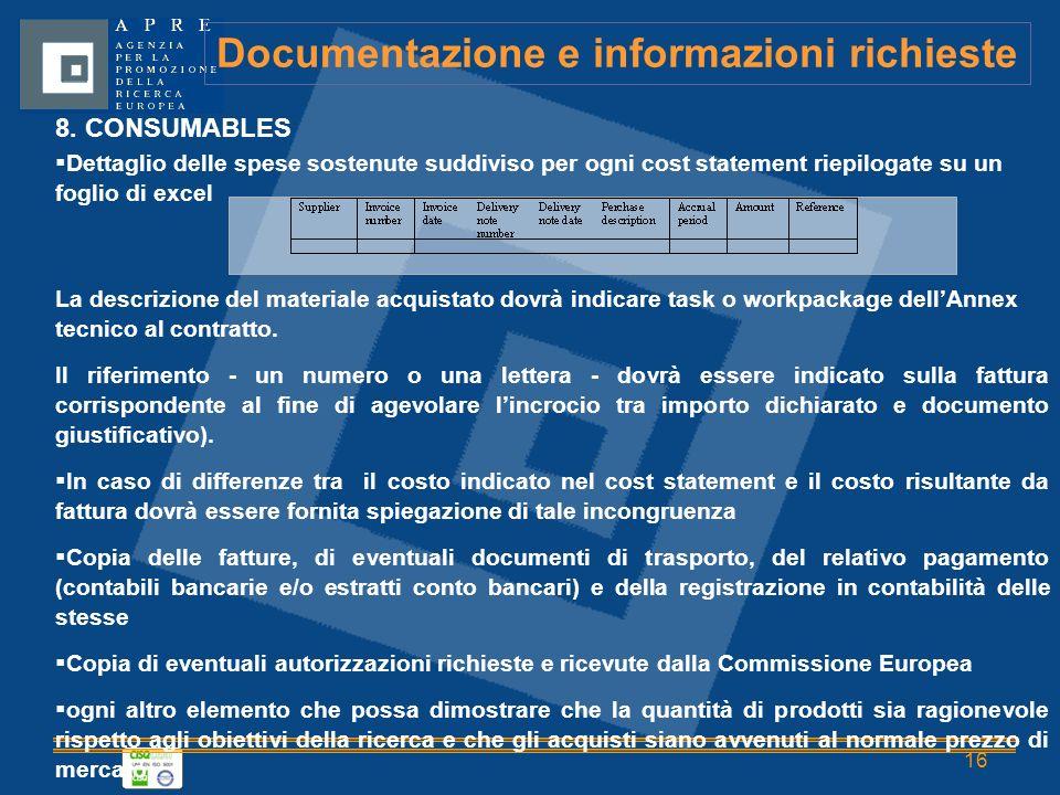 16 Documentazione e informazioni richieste 8.