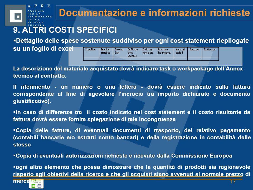 17 Documentazione e informazioni richieste 9.
