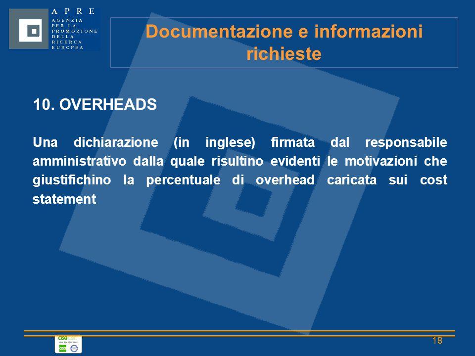 18 Documentazione e informazioni richieste 10.
