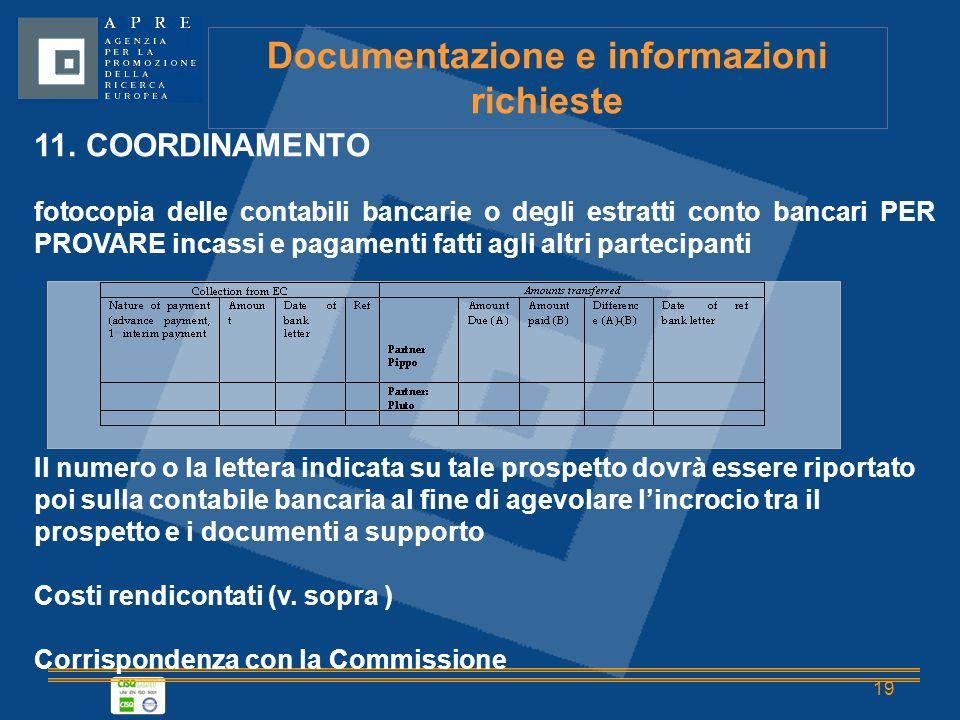 19 Documentazione e informazioni richieste 11.