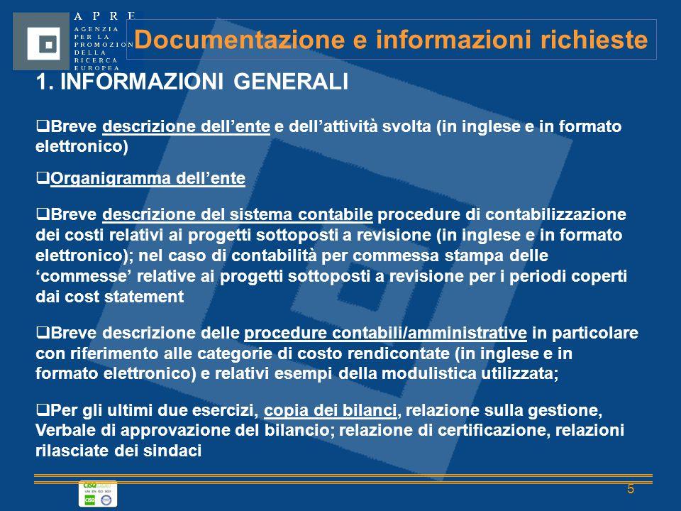 5 Documentazione e informazioni richieste 1.