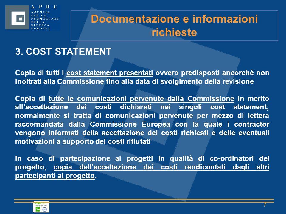 7 Documentazione e informazioni richieste 3.