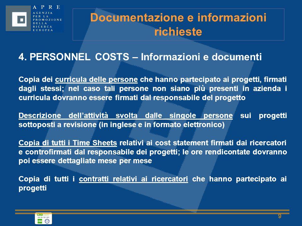 9 Documentazione e informazioni richieste 4.