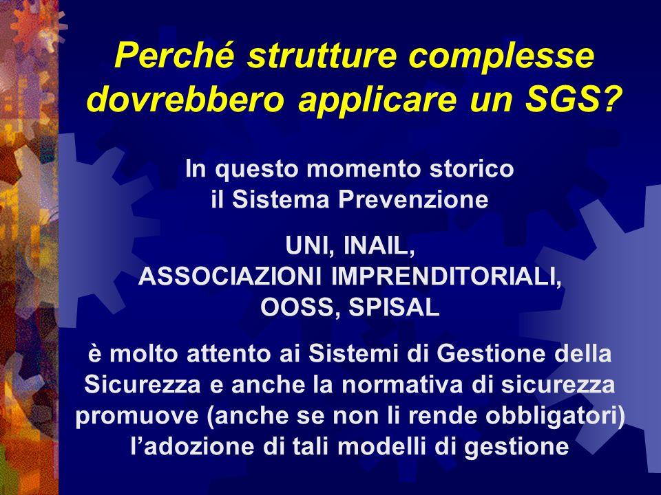 Perché strutture complesse dovrebbero applicare un SGS.