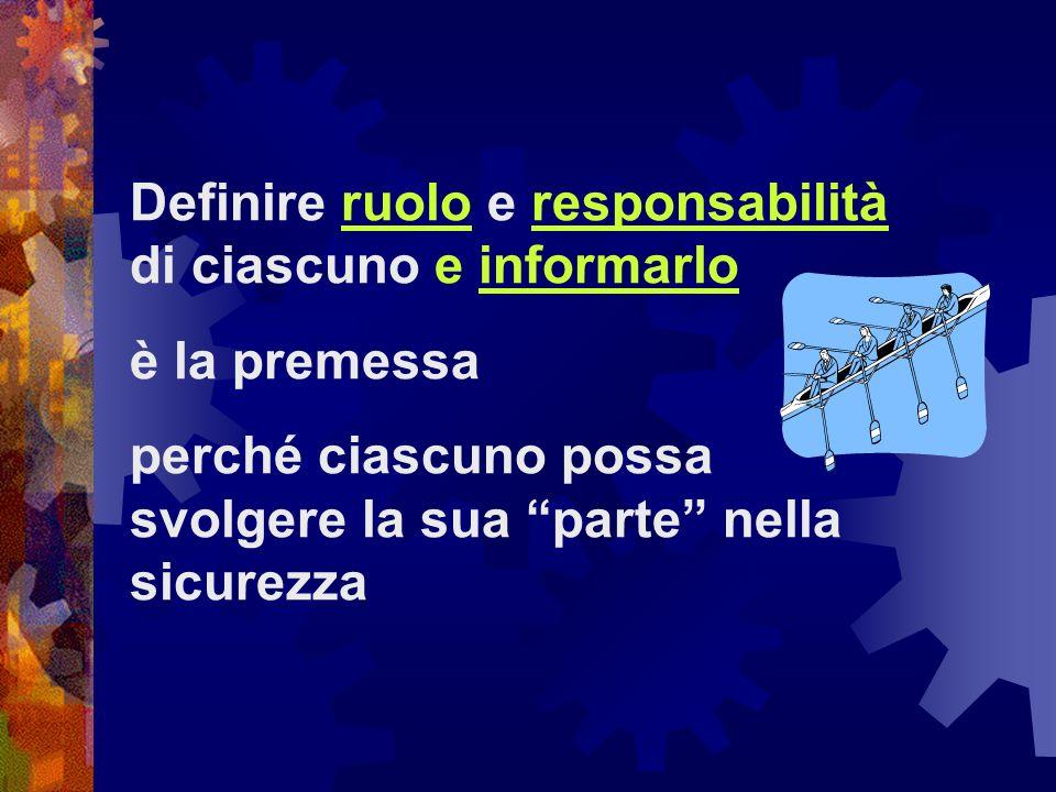 Definire ruolo e responsabilità di ciascuno e informarlo è la premessa perché ciascuno possa svolgere la sua parte nella sicurezza