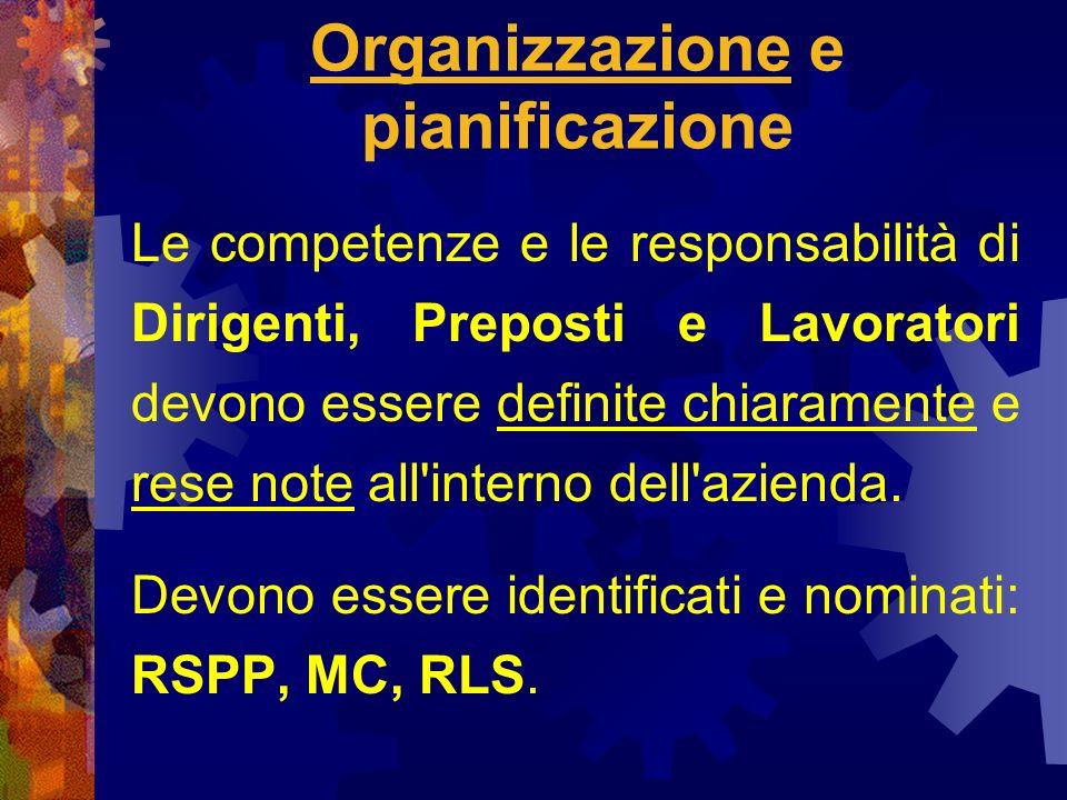 Organizzazione e pianificazione Le competenze e le responsabilità di Dirigenti, Preposti e Lavoratori devono essere definite chiaramente e rese note all interno dell azienda.