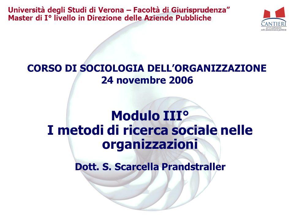 Università degli Studi di Verona – Facoltà di Giurisprudenza Master di I° livello in Direzione delle Aziende Pubbliche Modulo III° I metodi di ricerca sociale nelle organizzazioni Dott.
