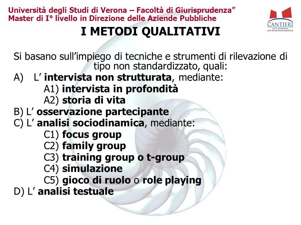 Università degli Studi di Verona – Facoltà di Giurisprudenza Master di I° livello in Direzione delle Aziende Pubbliche I METODI QUALITATIVI Si basano