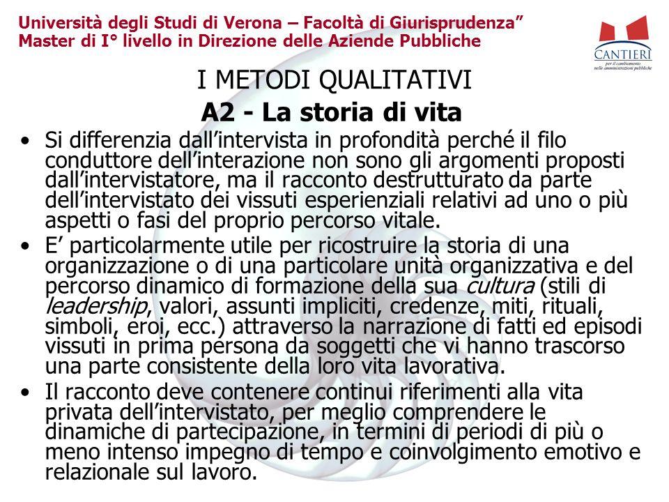 Università degli Studi di Verona – Facoltà di Giurisprudenza Master di I° livello in Direzione delle Aziende Pubbliche I METODI QUALITATIVI A2 - La st