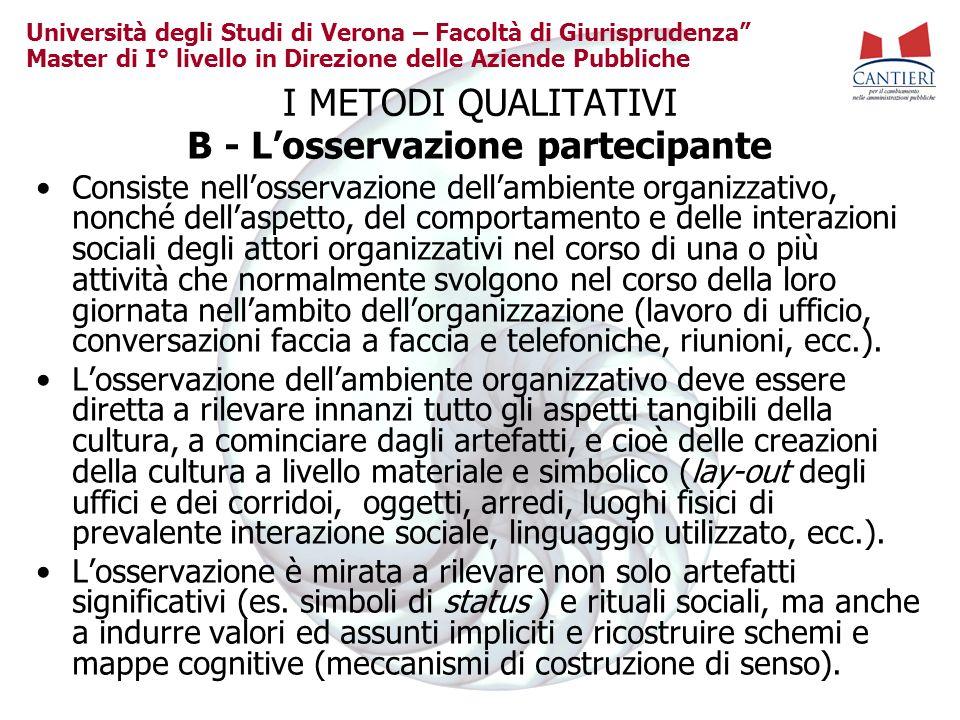 Università degli Studi di Verona – Facoltà di Giurisprudenza Master di I° livello in Direzione delle Aziende Pubbliche I METODI QUALITATIVI B - Losser