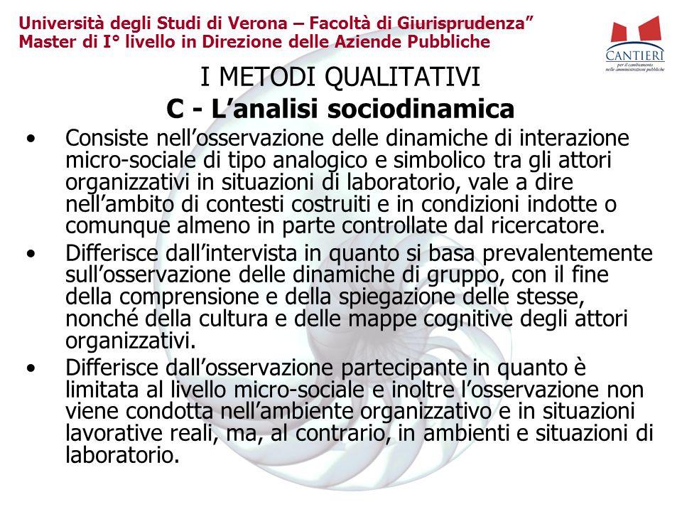 Università degli Studi di Verona – Facoltà di Giurisprudenza Master di I° livello in Direzione delle Aziende Pubbliche I METODI QUALITATIVI C - Lanali
