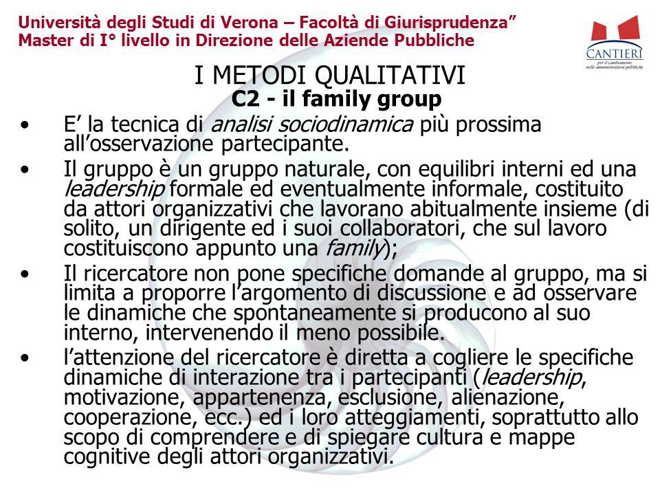 Università degli Studi di Verona – Facoltà di Giurisprudenza Master di I° livello in Direzione delle Aziende Pubbliche I METODI QUALITATIVI C2 - il fa