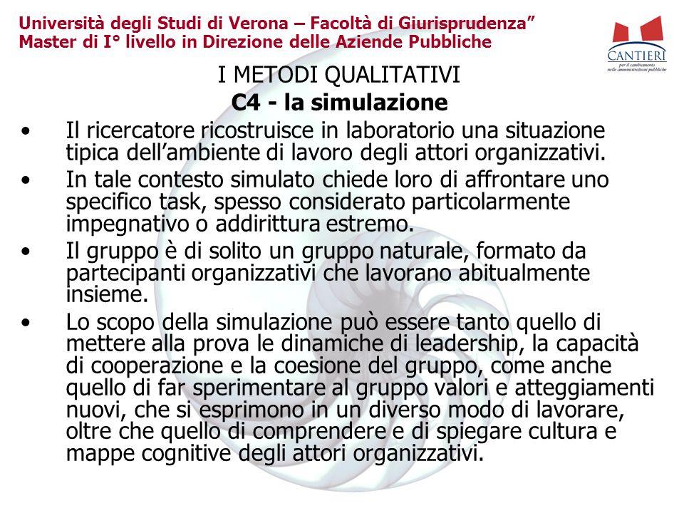 Università degli Studi di Verona – Facoltà di Giurisprudenza Master di I° livello in Direzione delle Aziende Pubbliche I METODI QUALITATIVI C4 - la si